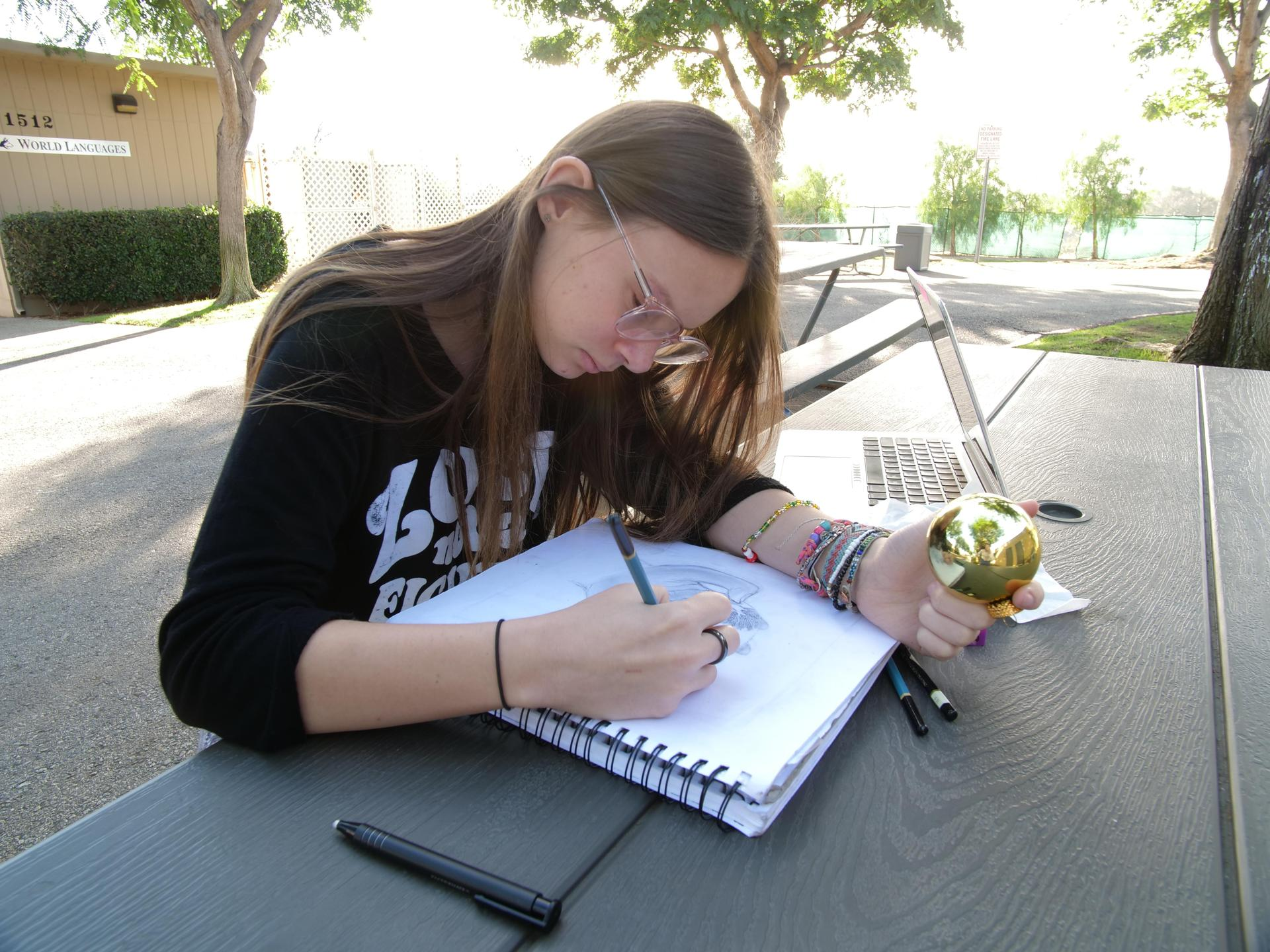 Upper school student working outdoors on reflections for drawing and painting.