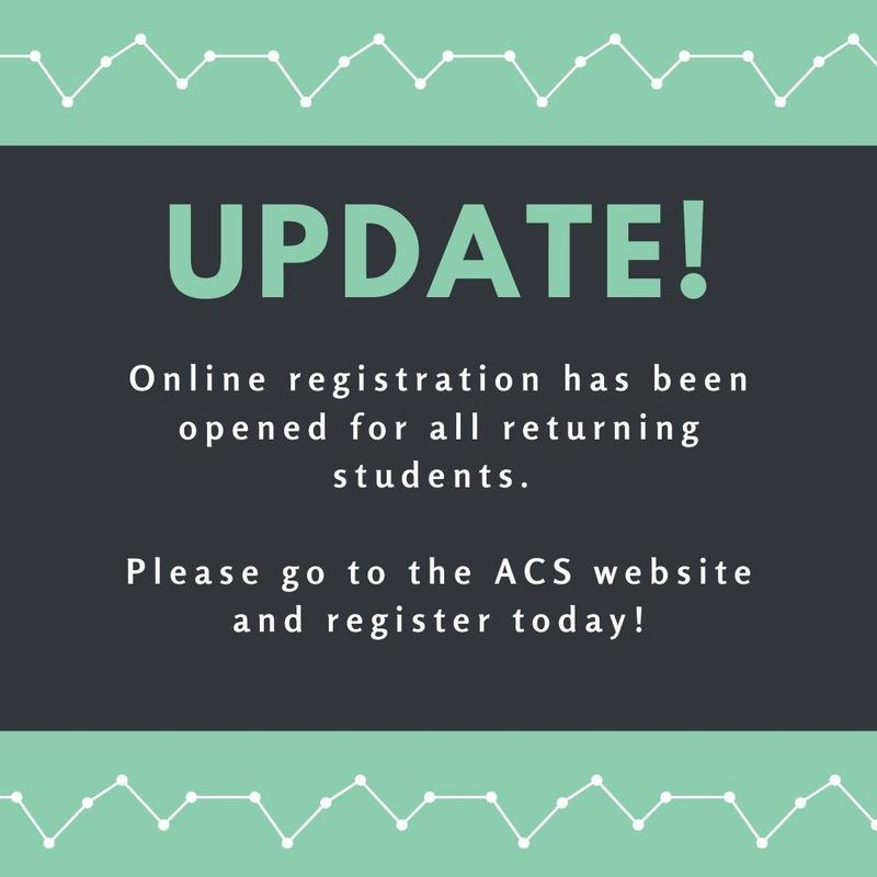 UPDATE: Registration is OPEN for Returning ACS Students Thumbnail Image