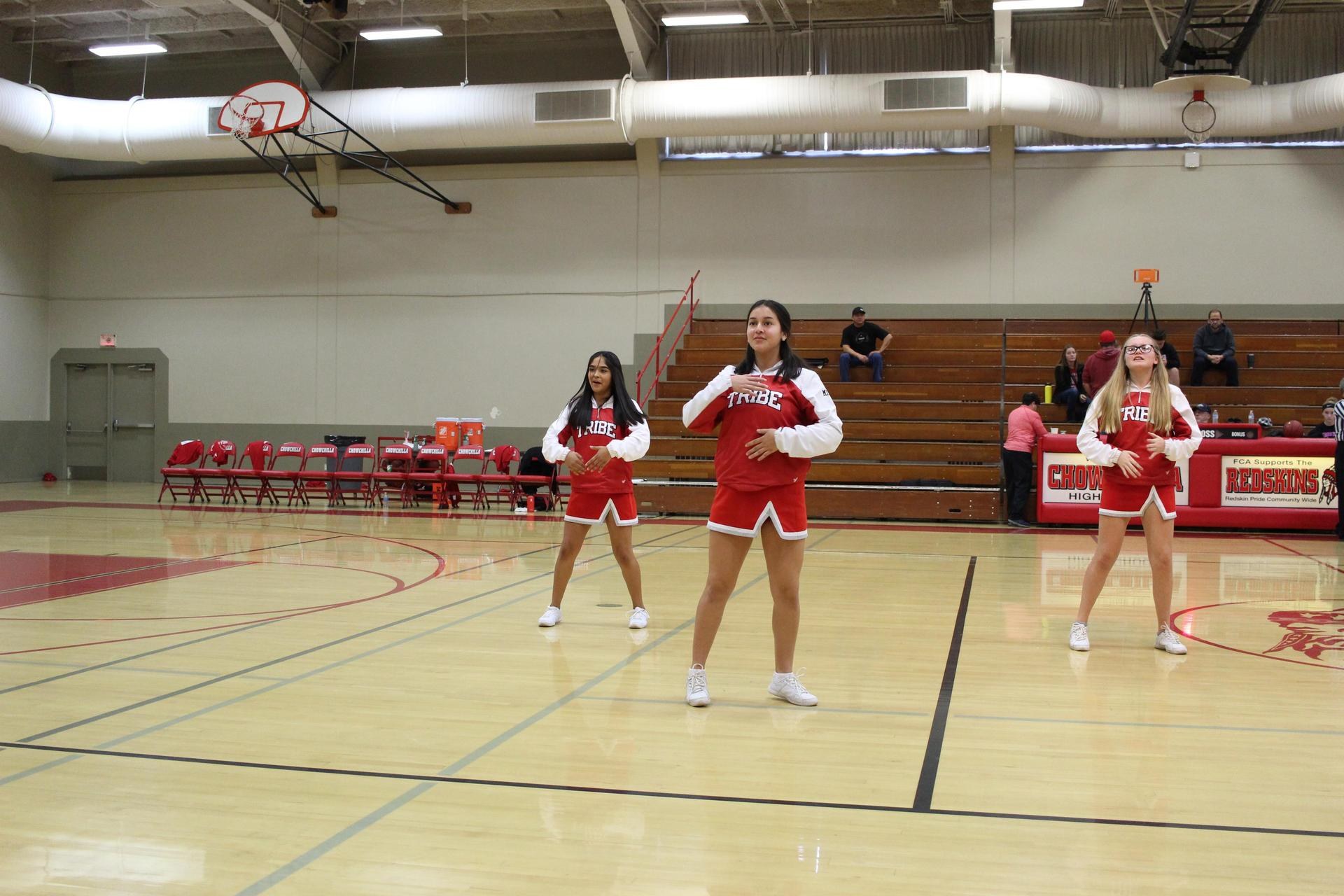 Junior Varsity Cheer at Los Banos basketball game