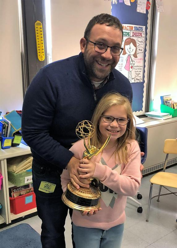 Photo of Franklin dad and 8-time Emmy Award-winning producer Paul Monusky with 2nd grade daughter Quinn Monusky.