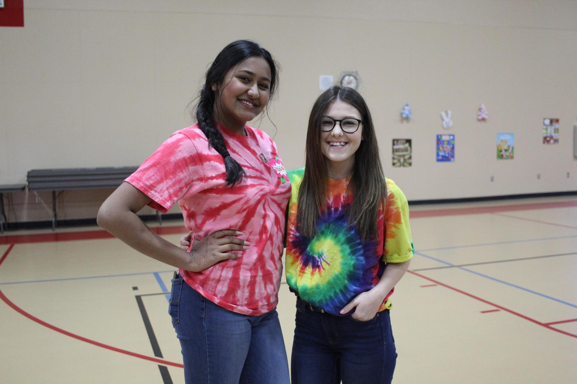 Students dressing up for Spring Week Tie Dye Tuesday
