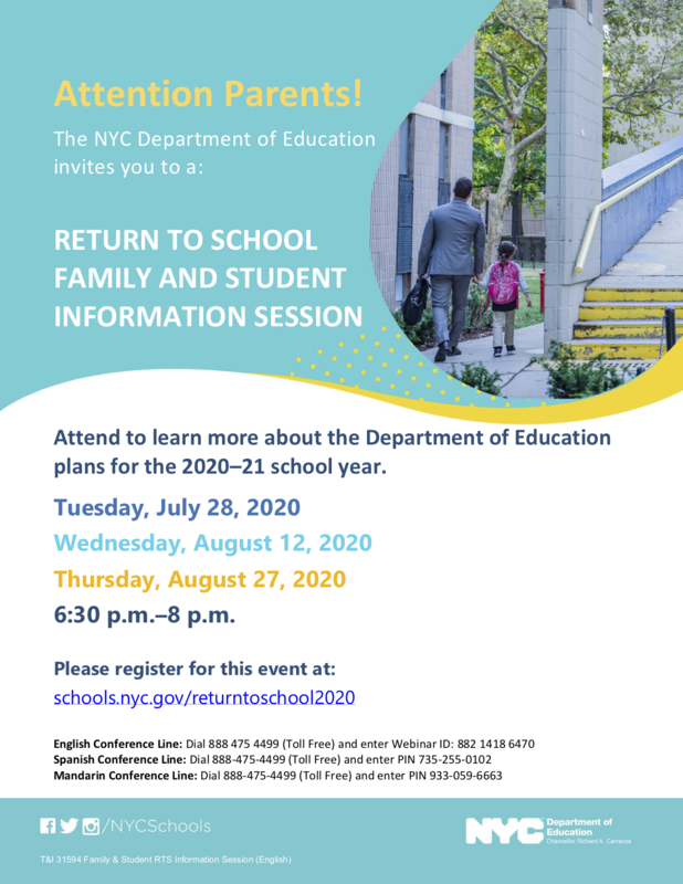 NYC DOE Family Return To School Session Flyer English