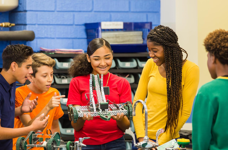 Students at robotic class