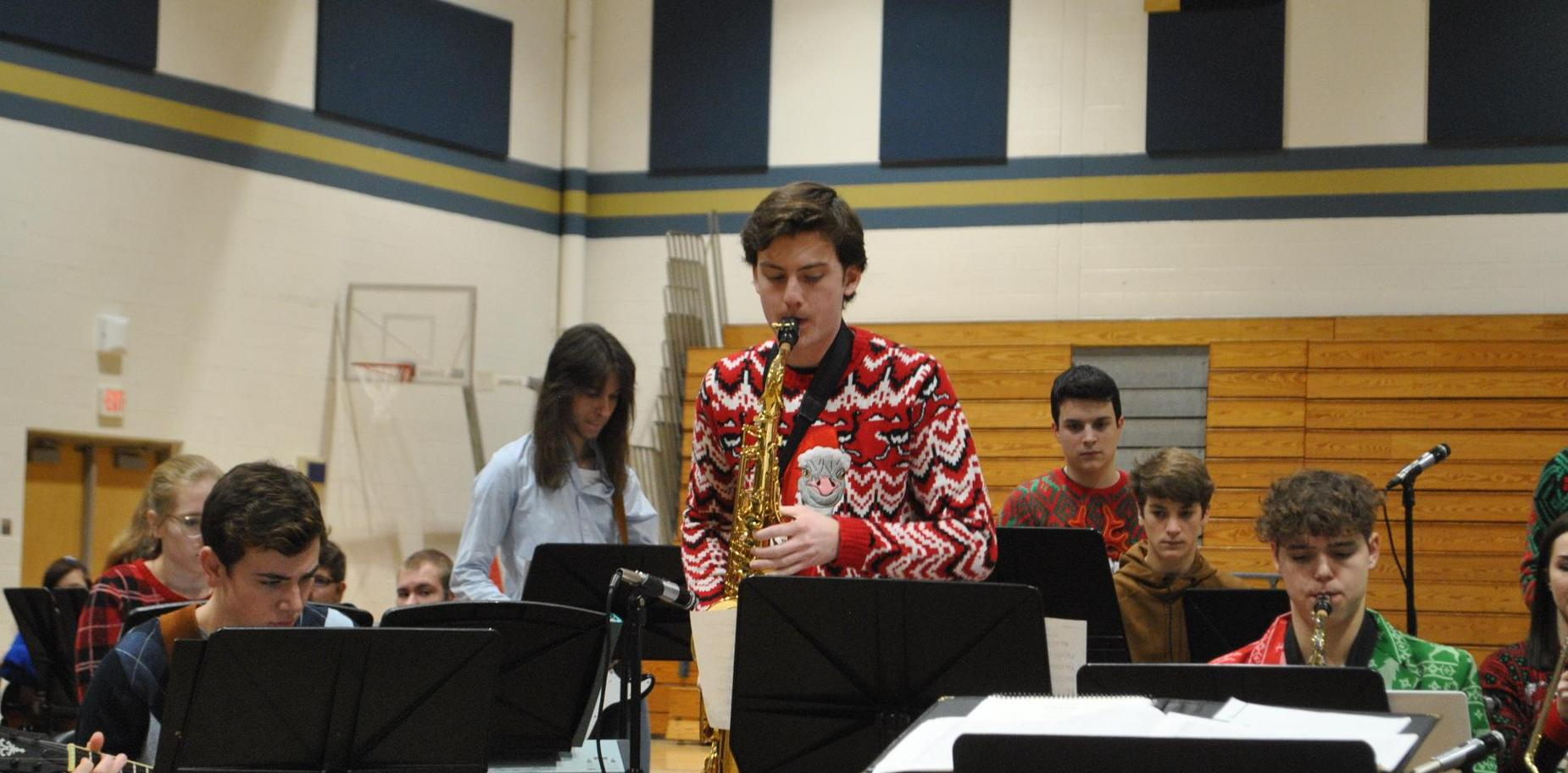 Saxophonist in holiday music performance