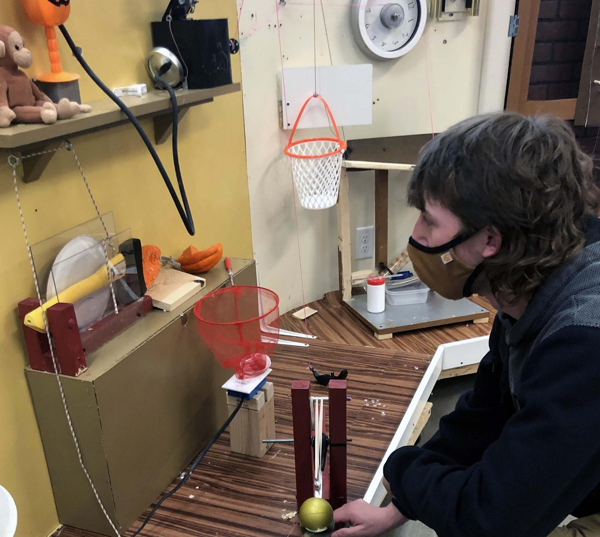 AHS Rube Goldberg team member at work