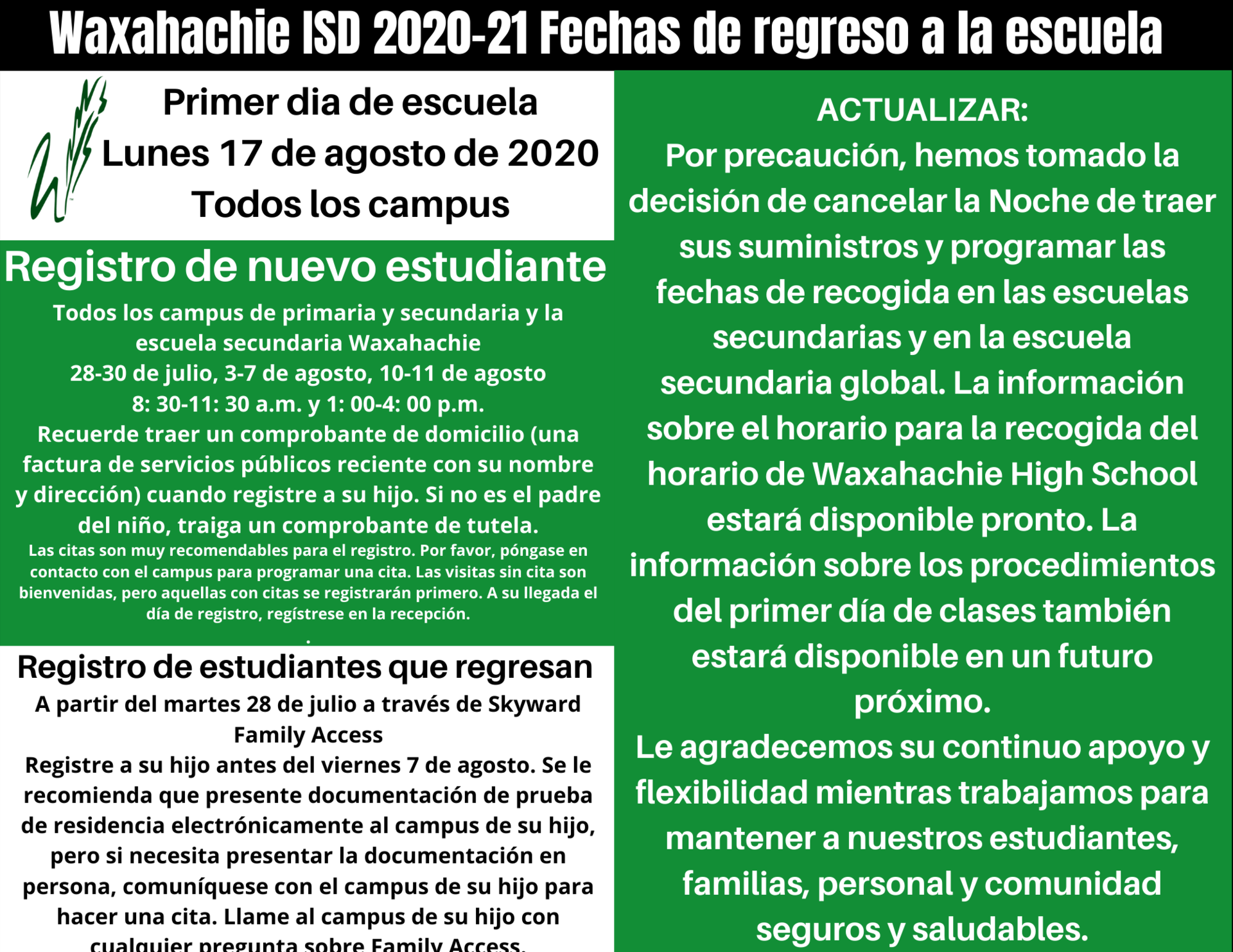 back to school August 17 graphic in spanish
