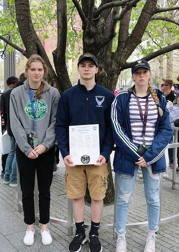 Norwin JROTC Students at Survivor's Tree, NYC