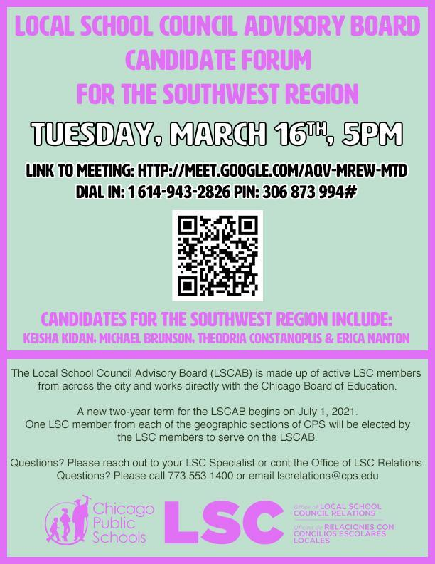 Local School Council Advisory Board Candidate Forum Flyer with QR code for the Southwest Side