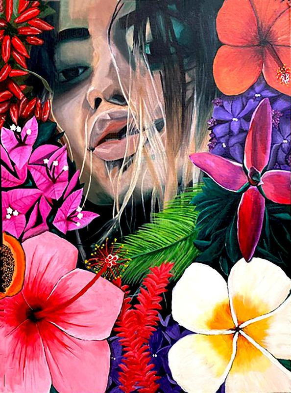 painting of girl's face amid flowers