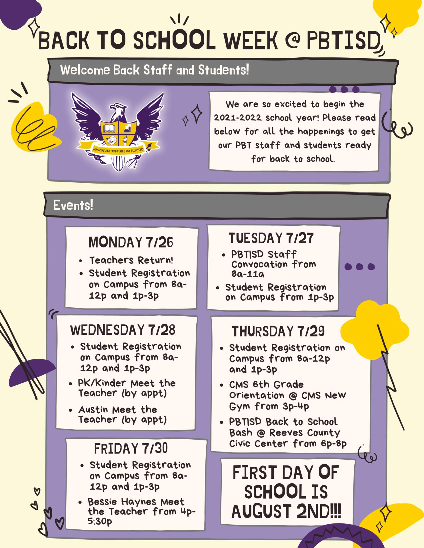 Back to School Week Calendar