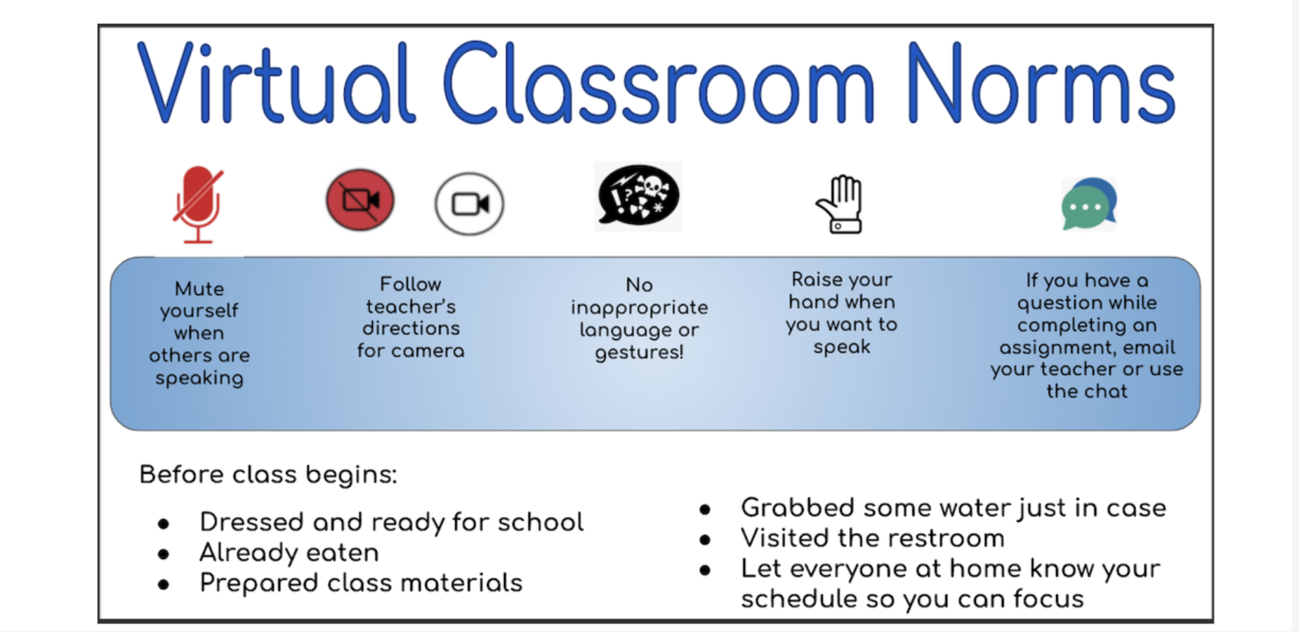 Screen shot of Virtual Classroom Norms