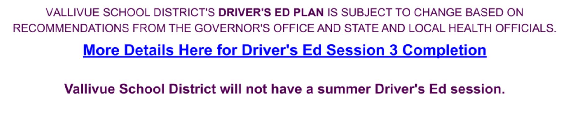 Driver's Ed Update