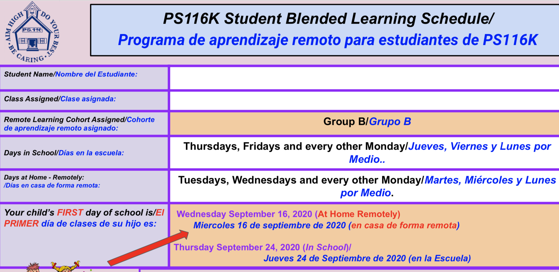 Group B Learning Schedule