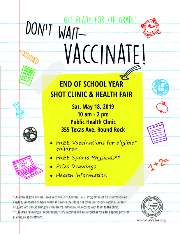 Free Vaccine Clinic on May 18 for eligible children