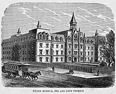 Woodcut image of the NYI school building when it was located on 9th Avenue and 34th Street in Manhattan NYC