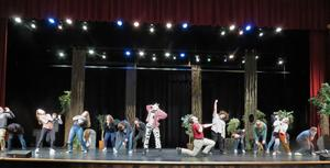 TKHS students rehearse a scene for the spring musical.