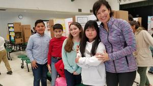 4th graders Jorge Rodriguez, Kevin Hernandez, Frankie Marin, Sophia Nguyen and Principal Liz Herbstreith