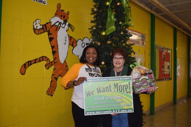 Otken Teacher receives McComb School District's Acts of Kindness basket for December 2018