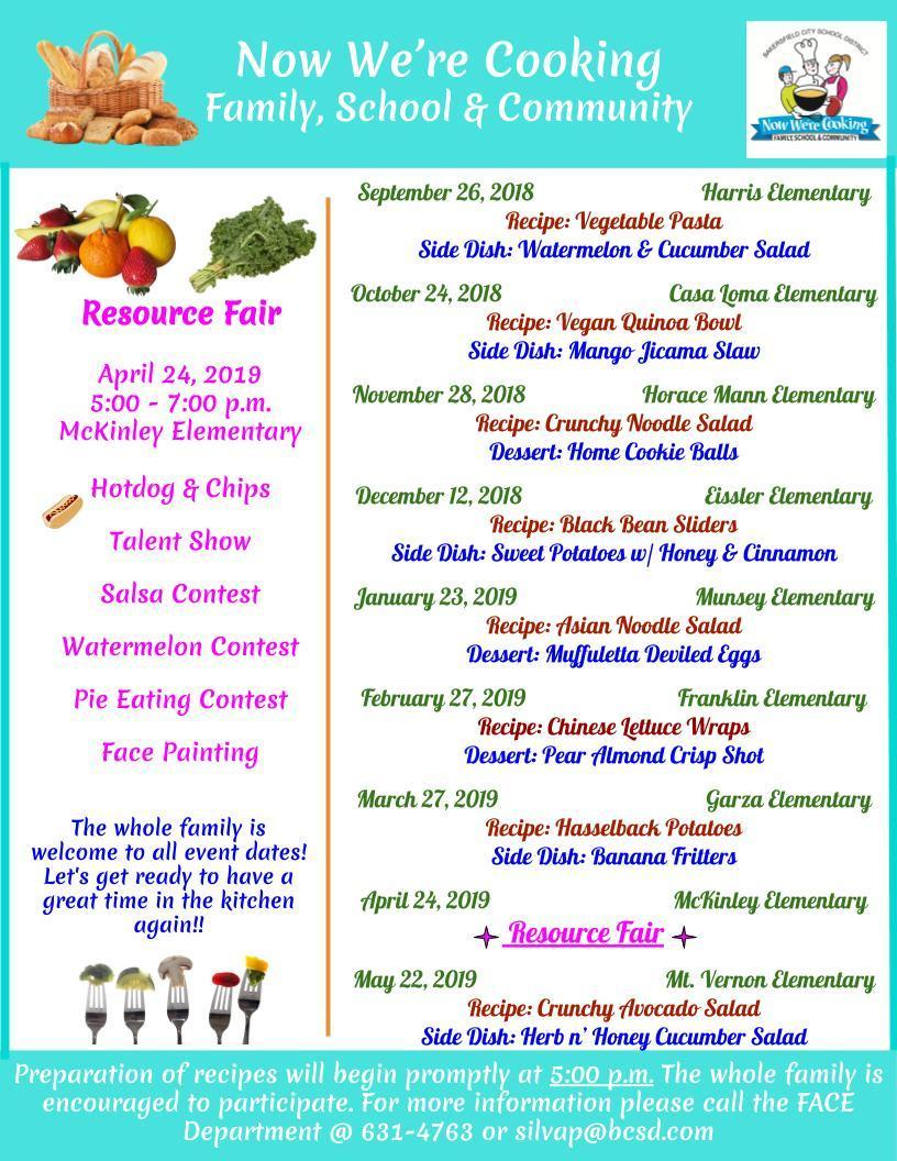 Now we're cooking calendar and locations for the 2018-2019 school year