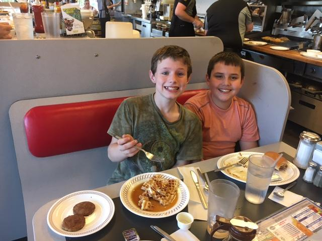 Friends eating at Waffle House