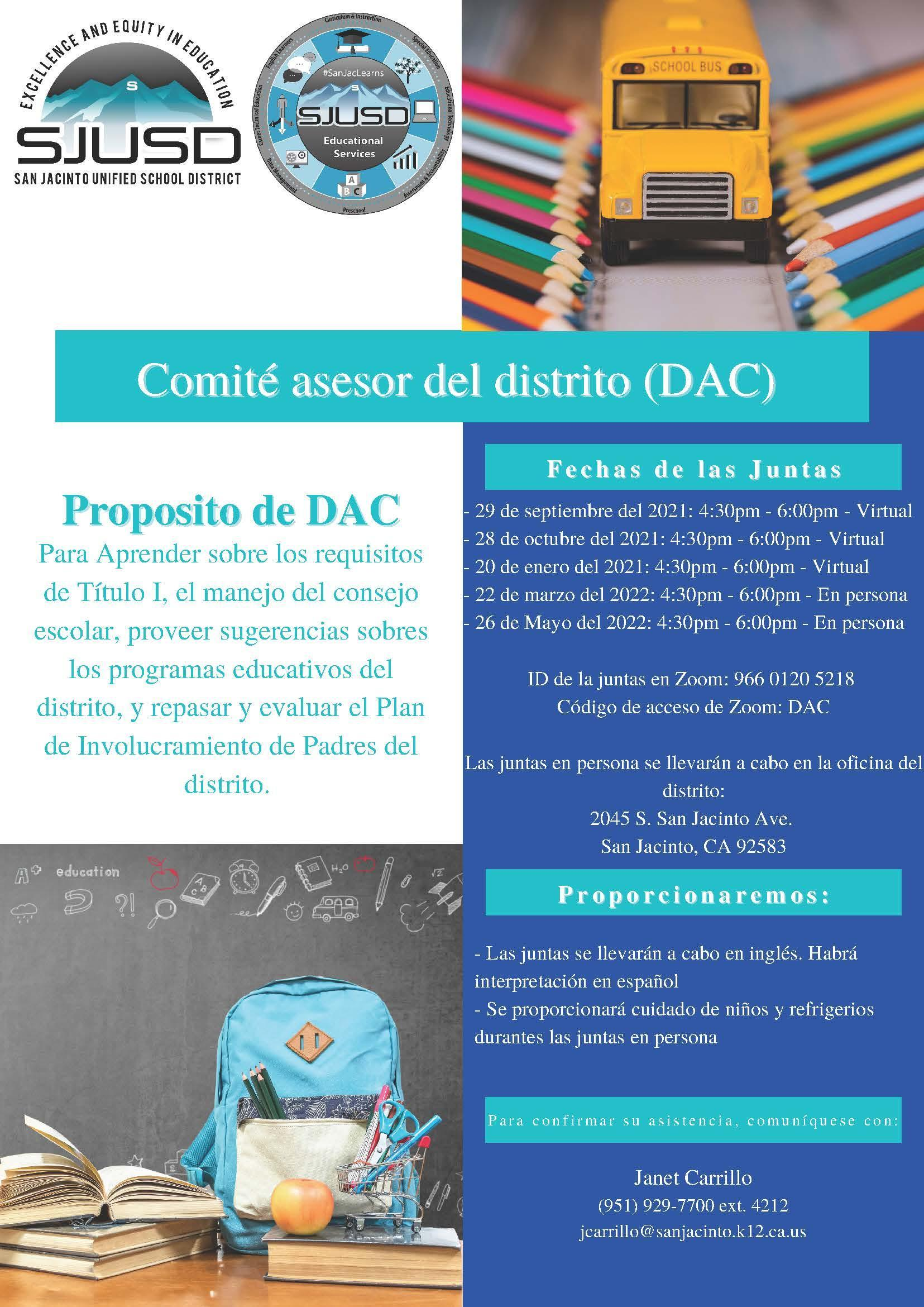 DAC Flyer with meeting info for 2021-2022 in Spanish