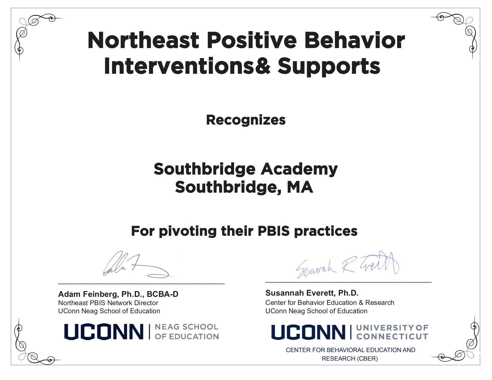 Certificate recognizing PBIS achievement at Southbridge Academy