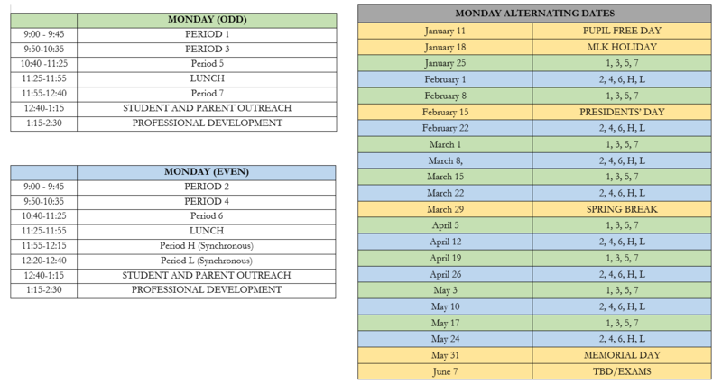 New schedule of classes for 2021 Featured Photo