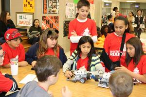 Group of children working on a robot
