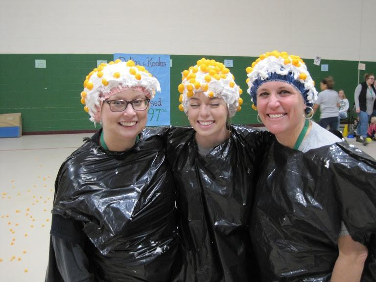 Teachers at Pep Rally with shaving cream heads