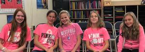 Photo of students wearing pink for RIS annual Pink Out in recognition of Breast Cancer Awareness Month.