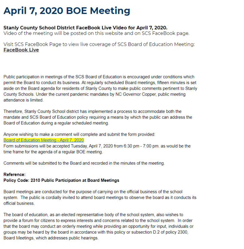 SCS Board Meeting - Join us LIVE April 7, 2020 Featured Photo