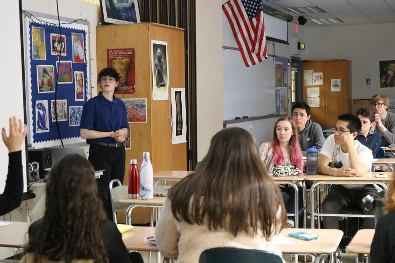 """In this Socratic seminar-style course at Westfield High School, seniors are asked what it means to be a """"Global Citizen"""" and encouraged to ask questions and use logic and reasoning to gain a more accurate meaning of the social constructs that shape society."""