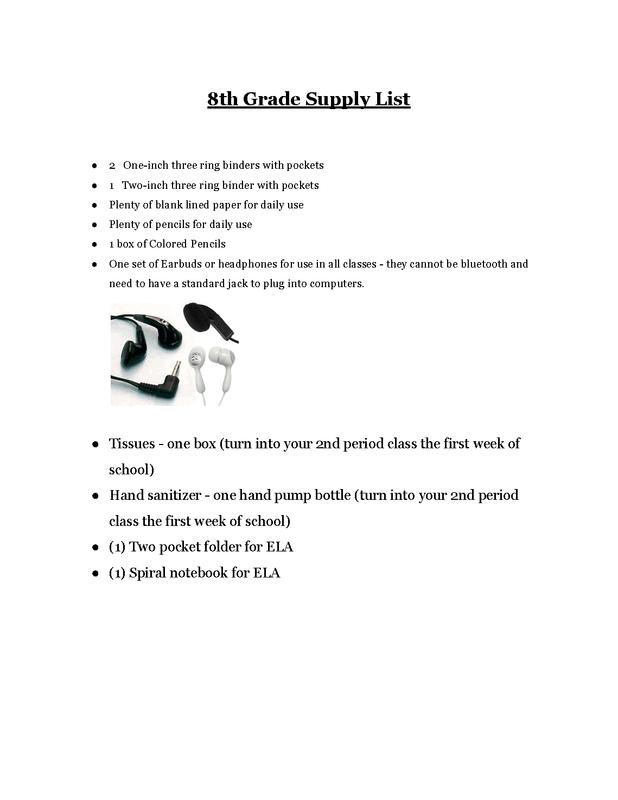 8th Grade Supply List