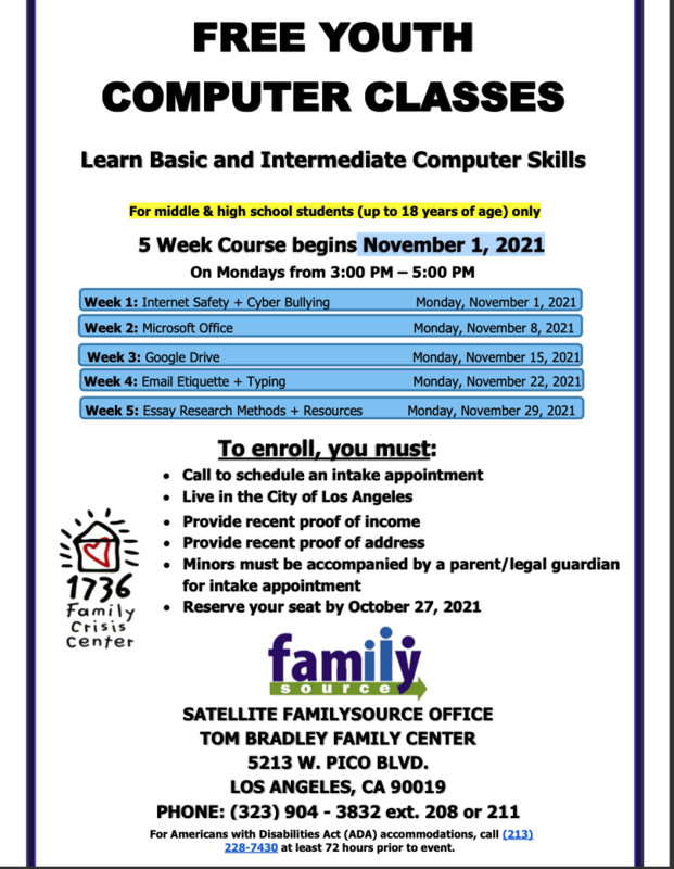 FREE YOUTH COMPUTER CLASSES (CLASES GRATUITAS DE COMPUTADORA PARA JÓVENES) Featured Photo