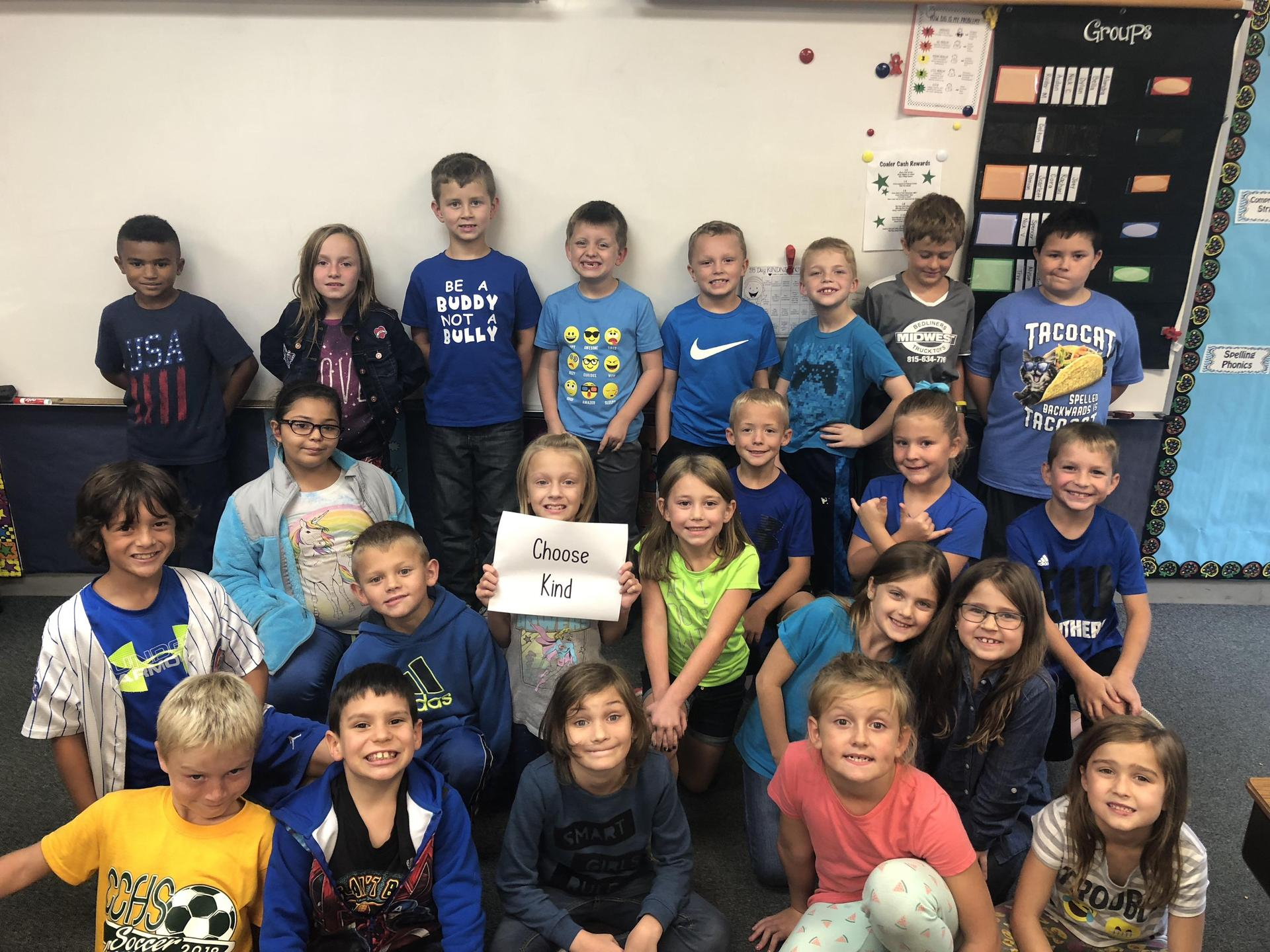 Wearing Blue for Bullying Awareness Month
