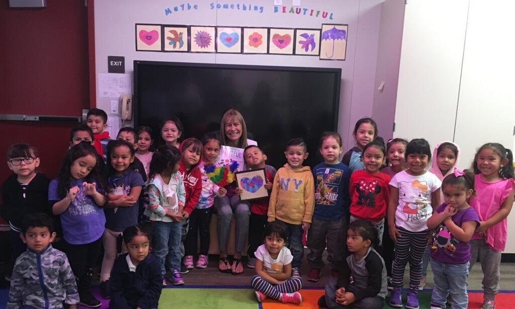 Board member Roberta Perlman was reading to Alcott 2 Ramona Valenzuela's class!