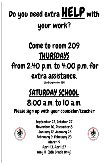 Thursday & Saturday School Tutoring Flyer