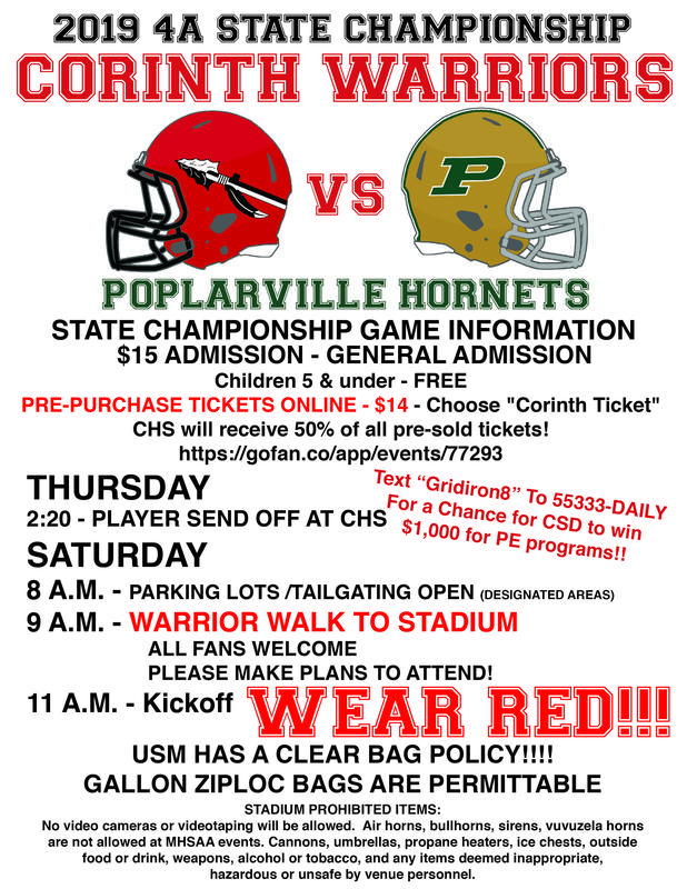 CHS Football State Championship Game Information Featured Photo