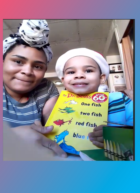 Student and mother holding book