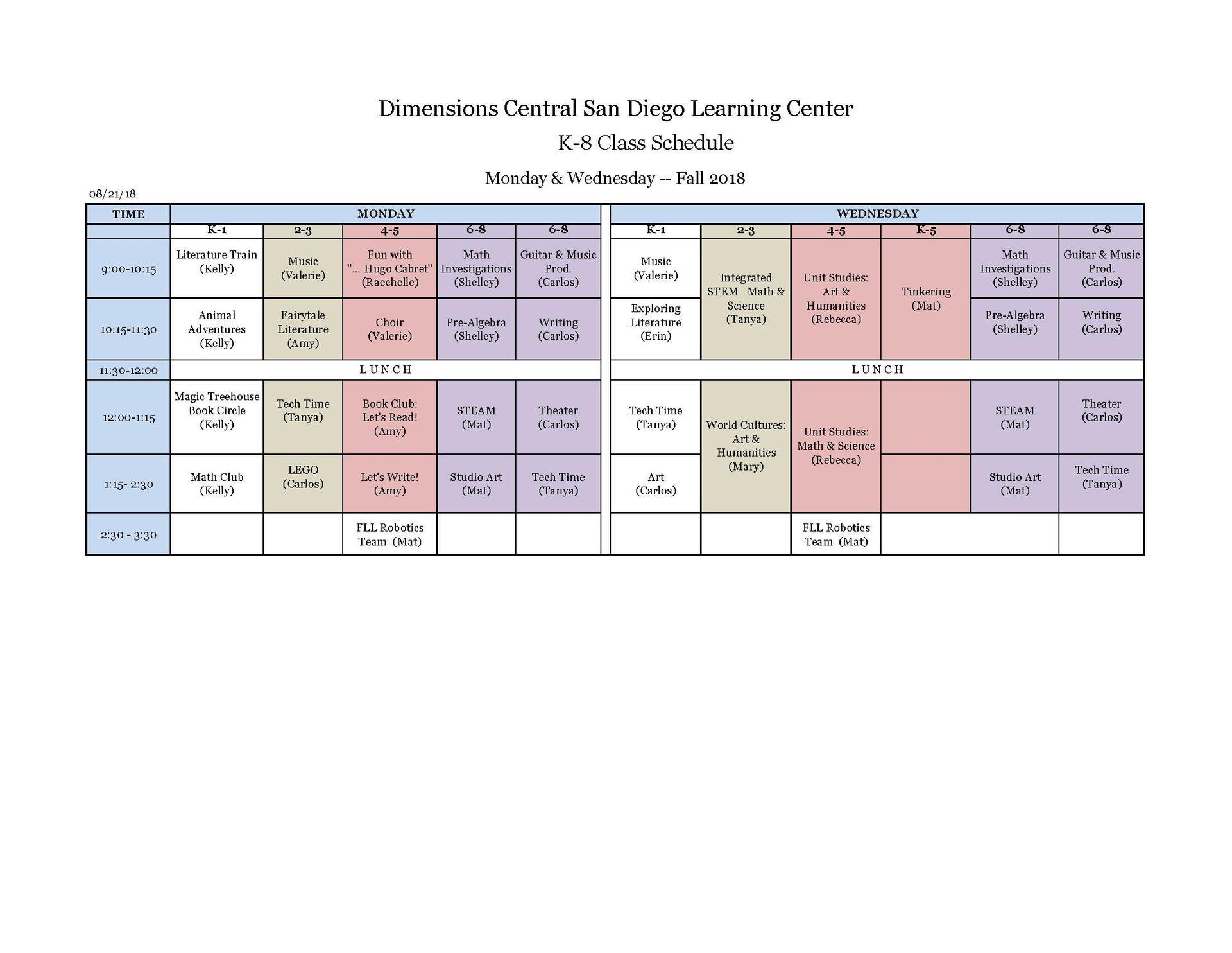 K-8 Schedule