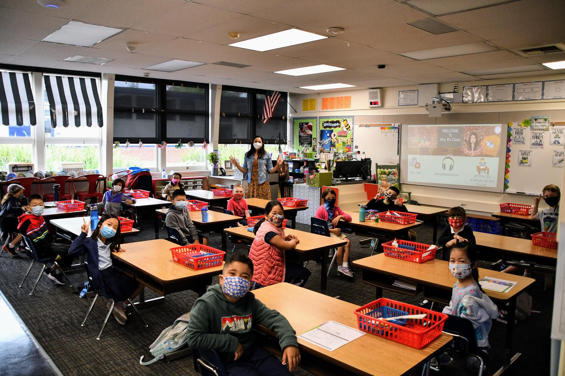 Arcadia Unified students in class on first day