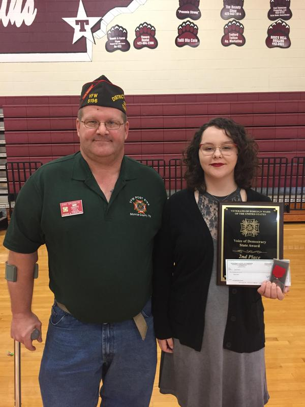 Student placed 2nd in VFW contest