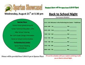 Back to School Night flyer