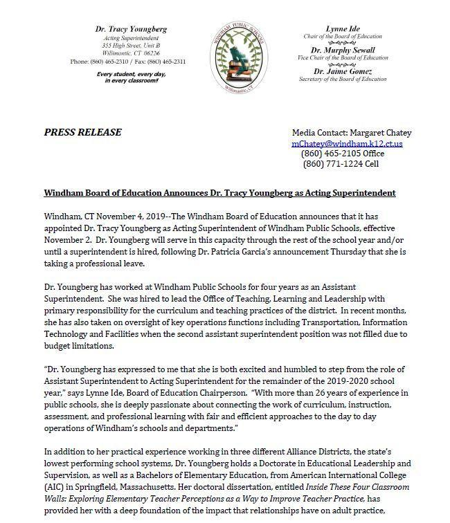 Press Annct re:  Dr. Tracy Youngberg