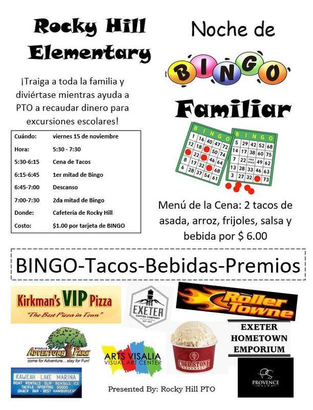 family bingo night info- spanish