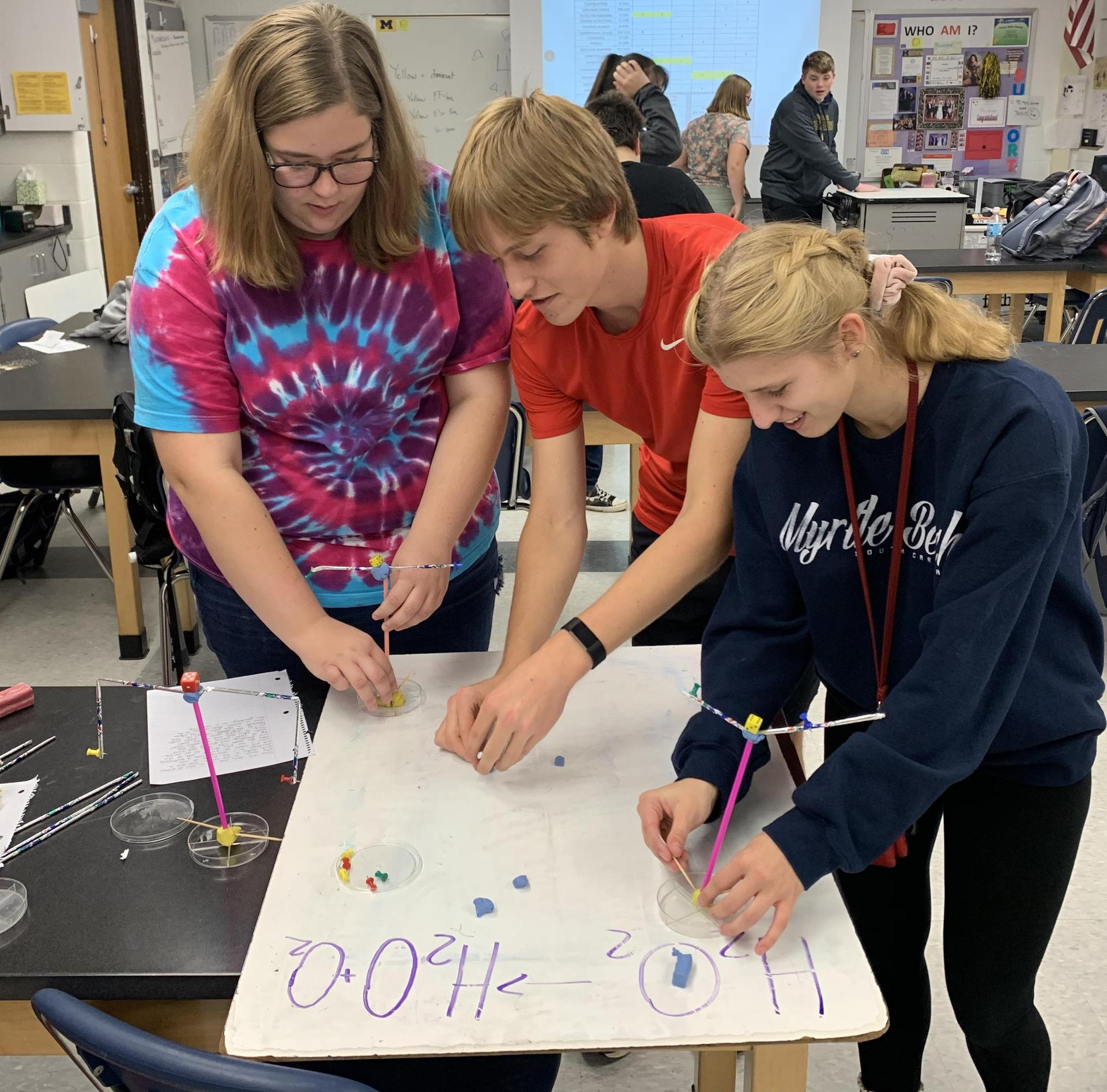 Science Olympiad team members are preparing for the upcoming tournament.