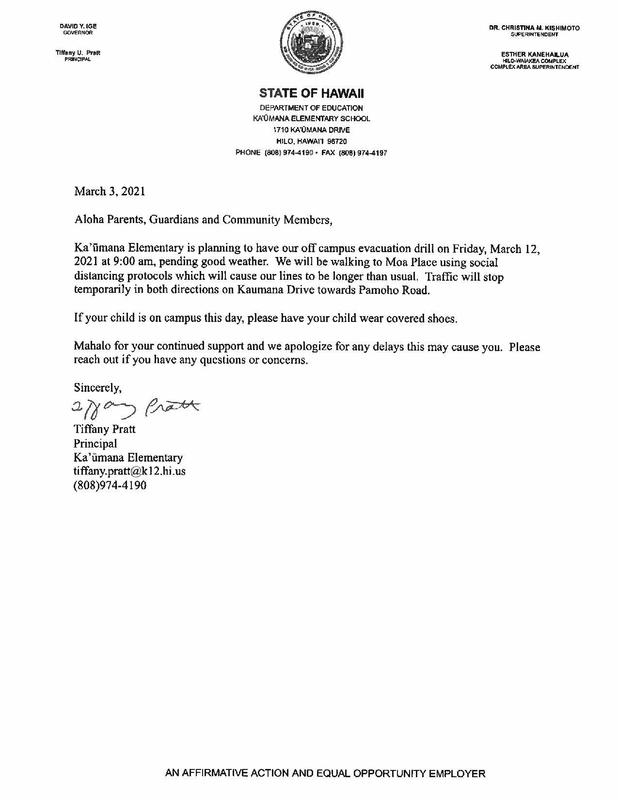 March 3, 2021 - Off Campus Evacuation Drill Letter