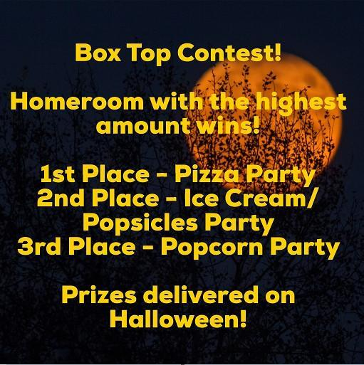 Box Top Contest -           October 7th-25th Featured Photo
