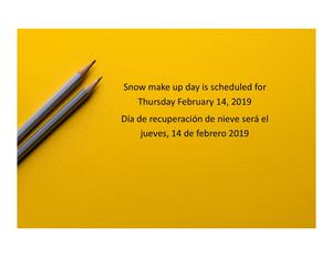 image of pencils with information about snow make up day
