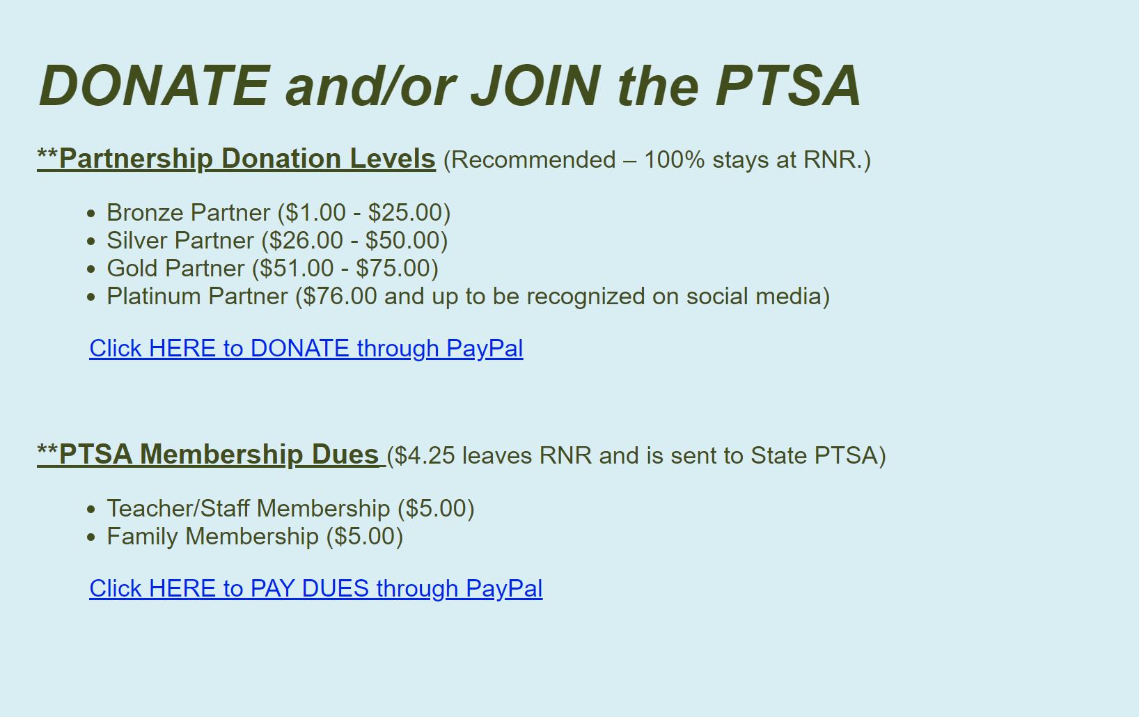 Donate or Join PTSA